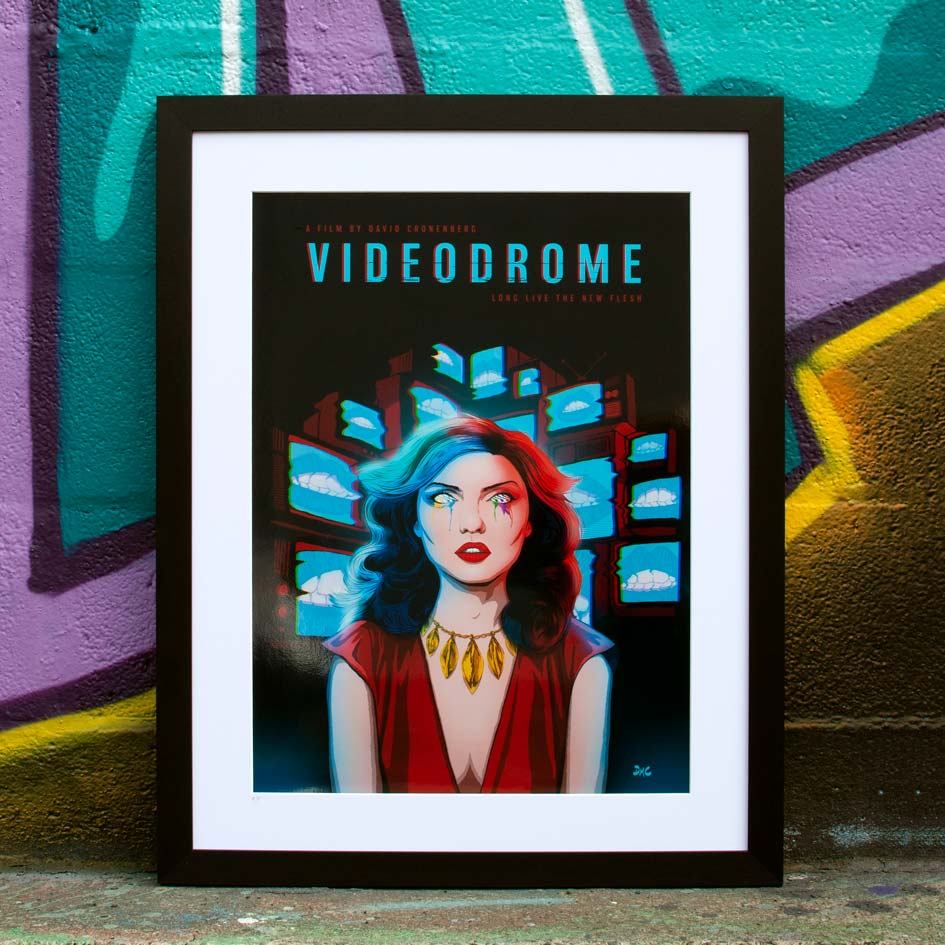 Framed Videodrome alternative movie poster against a graffiti backdrop