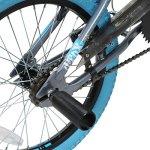 deTOX Vélo BMX 18″ Freestyle pour enfants et débutants à partir de 120cm, à partir de 6ans, gris/bleu