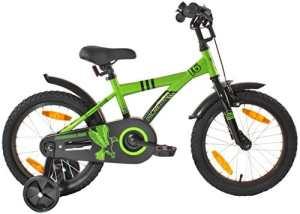 """PROMETHEUS Vélo enfant pour fils 16 pouces en vert & noir avec petites roues   Frein à tirage et frein à rétropédalage   à partir de 5 ans   16"""" BMX Edition 2017"""