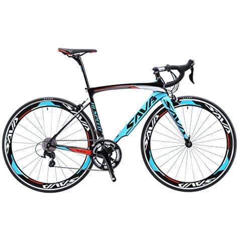SAVA Vélo de Route de Fibre de Carbone 700C SHIMANO 3000 20-Vitesses Système Vélo Ultraléger (Noir Blanc Bleu, 520mm)