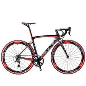SAVA Vélo de Route de Fibre de Carbone 700C SHIMANO 4700 20-Vitesses Système (Noir Gris Rouge, 520mm)