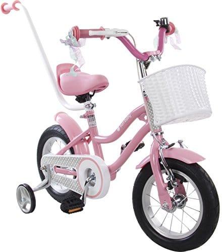 Vélo Enfant BMX Star avec Panier Stabilisateurs et Poignée de Poussée Roues 12 Pouces Rose