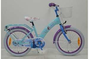 Vélo Enfant Disney Frozen Roues 18 pouces avec Panier et Support Célestes – 95% assemblé