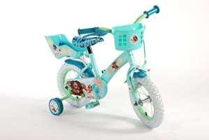 Vélo Enfant Fille Disney Vaiana 12 Pouces avec Stabisateurs Rétropédalage Panier Vert Menthe – 95% Assemblé