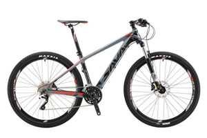 SAVA DECK 300 Fibre de Carbone Vélo de Montagne 27,5 «/ 29″ Complete Tail Dur VTT Vélo SHIMANO M610 DEORE 30 Vitesse (Gris & Rouge, 27.5»)