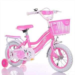 Geekbot Vélo enfant fille 12 pouces – enfant de 3-8 ans – pneu gonflable -siège comfortable – petit pagné