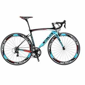 SAVA Vélo de Route de Fibre de Carbone 700C SHIMANO 3000 20-Vitesses Système Vélo Ultraléger (Noir Blanc Bleu, 500mm)