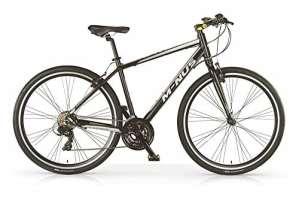 Vélo Hybride VTC MBM Minus pour hommes, cadre en aluminium, 21 vitesses, pneu 28″, couleur noir, fourche à suspension optionelle. (Avec fourche à suspension, 58)