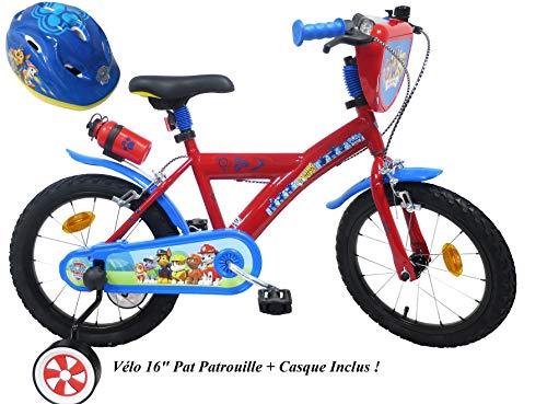 EDEN-BIKES Vélo Enfant Garçon Pat Patrouille – 16» – Rouge et Bleu + Casque Inclus