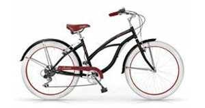 MBM Honolulu, vélo Cruiser Femme, Femme, 125D/18, Nero A01, 26″