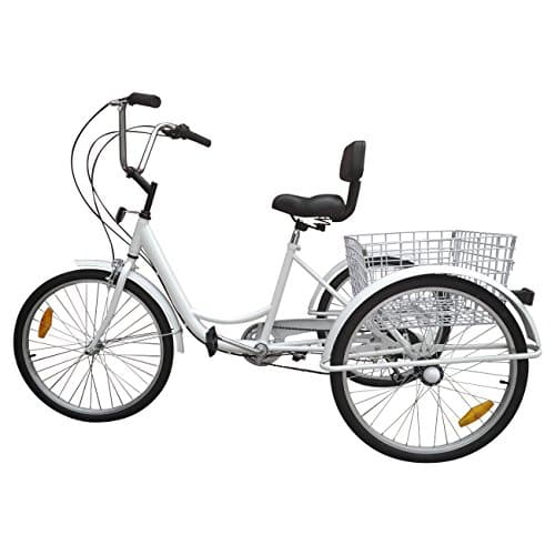Paneltech 24  » 6 Vitesses Gears 3 Roue Tricycle Adulte Vélo pour Adultes Confort Vélo Sports de plein air Ville Panier de vélo urbain inclus