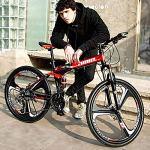 MTCTK Adulte vélo de Montagne Pliant 26 Pouces Double Amortisseur Course Hors Route vélo de Montagne Disque de Frein en Acier au Carbone VTT vélo,BlackRed,21speed