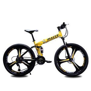 WJSW Vélo de Montagne Pliant Femmes Hommes vélos Cadre en Acier 24″/ 26″ Pouces, 24 Vitesses dérailleur arrière Tourney, Jaune, 24″
