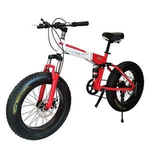 WJSW Vélo Pliant de vélo de Montagne 26 Pouces avec Cadre en Acier Super léger, vélo Pliant à Double Suspension et Vitesse à 27 Vitesses, Rouge, 27 Vitesses
