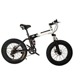 WJSW Vélo Pliant de vélo de Montagne 26 Pouces avec Cadre en Acier Ultra léger, vélo Pliant à Double Suspension et Vitesse à 27 Vitesses, Noir, 7 Vitesses