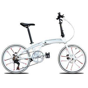 WJSW Vélo Pliant pour Femmes, Hommes, vélos, vélo de Ville, vélo de Ville avec 22 Pouces de Suspension, 10 Roues, vélo, Blanc