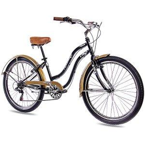 '26beachc ruiser Vélo pour femme KCP Aloha 2.06Vitesses SHIMANO noir/doré look rétro