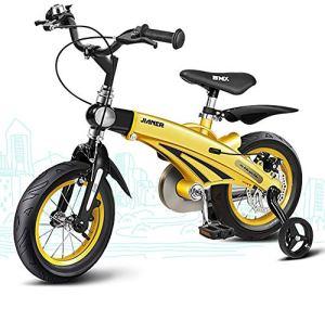 AI-QX Bikes 12/14/16 Pouce Boy vélo, Bicyclette, Enfant-Velo, bécane, vélocipède, Rouler en vélo, Faire du vélo.stabilisateurs.gardeboue,Yellow,16″