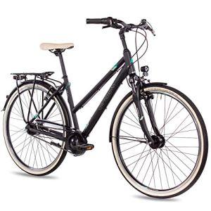 AIRTRACKS CI.202020L Vélo de Ville pour Femme avec moyeu Shimano Nexus 7 Vitesses Dynamo moyeu arrière Noir Mat Hauteur du Cadre 48 cm et 52 cm, Noir Mat, 52cm (Körpergröße 175-185cm)
