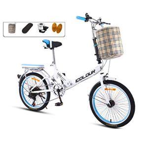 AOHMG 20» vélo Pliant pour Les Adultes, 7 Vitesses Cadre en Acier Compact Unisexe Pliable Ville de vélos, avec Garde-Boue/Porte-Bagages arrière,Blue