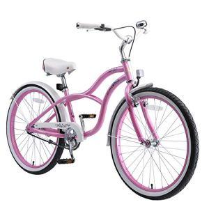 BIKESTAR Vélo Enfant pour Garcons et Filles de 10-13 Ans | Bicyclette Enfant 24 Pouces Cruiser avec Freins | Turquoise & Berry