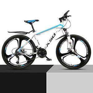 KXDLR en Alliage D'aluminium VTT 21-30 Vitesses Fourche Suspension Vélo Double Disque De Frein VTT,Blanc,21 Speeds