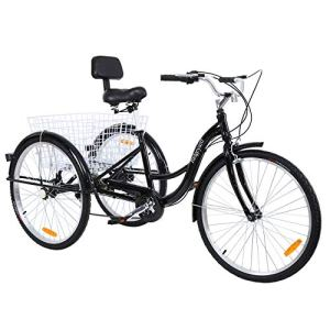 MuGuang Tricycle Adulte 26″ 3 Roues 7 Vitesse Velo Tricycle Adulte Bicycle Trike Cruise avec Basket (Noir)