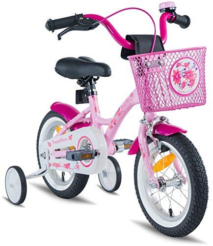 PROMETHEUS Vélo enfant pour filles 12 pouces en rose & blanc avec petites roues   Frein à tirage et frein à rétropédalage   à partir de 3 ans   12″ Classic Edition 2017
