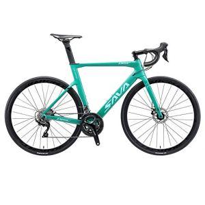 SAVADECK Velo de Route Carbone, Vélo de Course T800 en Fibre de Carbone 700C avec Goupe 105 R7000 22 Vitesses et Frein à Disque Mécanique (Bleu, 51CM)