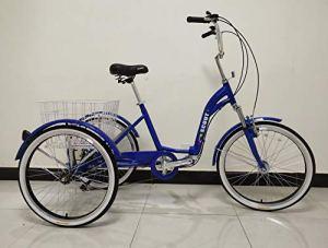 Scout Tricycle Adulte, Cadre en Alliage, Pliable, 6 Vitesses, Suspension Avant, Trike Pliant – Bleu