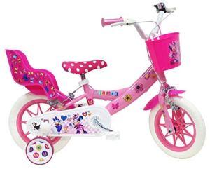 Vélo 12″ fille Minnie 2 freins avec panier avant + porte-poupée arrière