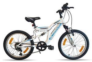 Vélo Garçon Condor ACTIMOVER-Cadre Fourche télescopique-6 Vitesses par poignée tournante VTT 20» Tout Suspendu Fille, Blanc et Bleu