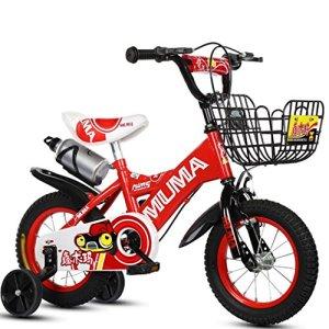Vélos pour enfants, Avec bouilloire Convient pour les garçons et les filles Avec roue auxiliaire en acier à haute teneur en carbone Antidérapant pneu de Sécurité Forte 2-10 ans 88-121CM, Rouge, 115 cm