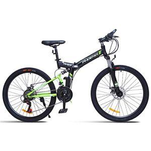WJSW Vélo de Montagne 26″Unisexe avec Frein à Disque 24 Vitesses avec Cadre de 17″ Noir et Rouge, Vert, 26″