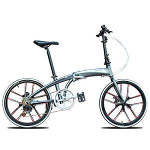 WJSW Vélo Pliant pour Femmes, Hommes, vélos, vélo de Ville, vélo, 22 Pouces, 10 Roues, Rayons, vélo de Suspension, Titane