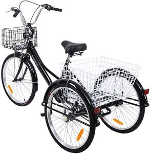 Yonntech 24″ Tricycle Adulte 7 Vitesses Gears vélo Femme/vélo Homme vélo de Ville vélo Hollandais Panier Inclus (Noir)