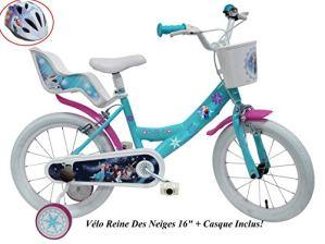 Disney VELO 16″ FILLE FROZEN 2 FREINS PORTE POUPEE AR + CASQUE Vélo enfants, Multicolore, 16»