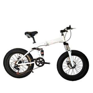 WJSW Vélo Pliant de vélo de Montagne 26 Pouces avec Cadre en Acier Super léger, vélo Pliant à Double Suspension et Vitesse à 27 Vitesses, Blanc, 7 Vitesses