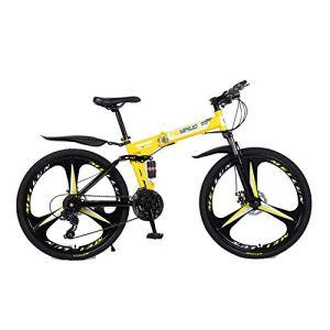Drohneks Vélo de Ville Pliant de vélo de Montagne, Homme, Femme, Enfant Taille Unique, système de Pliage, feu de Circulation, entièrement assemblé, 27 Vitesses