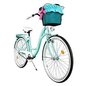 Milord. 2018 Vélo de Confort avec Panier, Byciclette, Vélo Femme, Vélo de ville, 3 Vitesses, Couleur de la mer, 28 Pouces