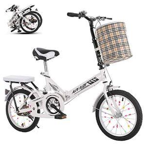 MOMAMO Léger Pliable Vélos,Double Frein à Disque First Class Pliant VTT avec Panier pour Hommes et Femmes,16/20″ 7 Vitesses Folding Bike avec Cadre en Acier à Haute Teneur en Carbone