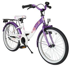 Bikestar Vélo Enfant pour Garcons et Filles de 6 Ans ★ Bicyclette Enfant 20 Pouces Classique avec Freins ★ Violet & Blanc