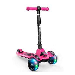 FQCD Équilibre Vélos Scooter 1-12 Ans Voiture Flash for Enfants 3 Roues Scooter Pliable extérieur Scooter Portable
