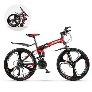 GWSPORT Vélo de Montagne Se Pliant vélo de Vitesse de Pneu d'usure de Pneu d'absorption de Choc de Double d'absorption de Double de 26 Pouces pour l'adulte,27speed