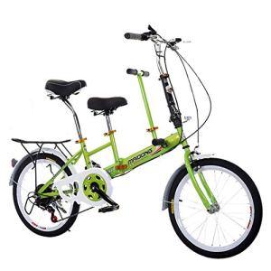 Liqiqi Tandem pliable vélo parent-enfant vitesse variable famille Tandem pour plage, voyage, vacances M vert