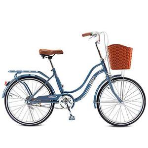 LIXIGB Vélo pour Femmes, Vélos Cruiser Serene Classic Frame Comfort Bike 22 Pouces,Bleu,22inch