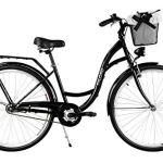 Milord. 2018 Vélo de Confort avec Panier, Byciclette, Vélo Femme, Vélo de ville, 1 Vitesse, Noir, 28 Pouces