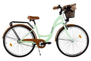 Milord. Vélo de Confort avec Panier Bicyclette Femme City Bike Vélo de Ville, 1 Vitesse, Menthe, 26 Pouces