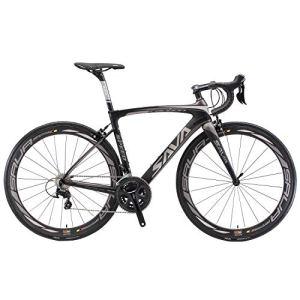 SAVADECK Velo de Course Carbone, HERD9.0 700C Vélo de Route Carbone Homme avec Campagnolo Centaur 22 Vitesses Groupe et Selle fizik Route (52cm, Gris Noir)