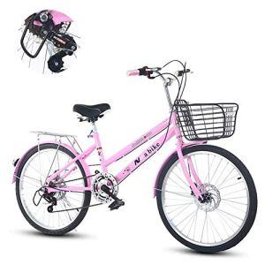 Ti-Fa Vélo Cruiser rétro pour Femmes avec Panier 24″7 Vitesses Freins à Disque Double Ville lumière Banlieue Dames Adulte -Pink
